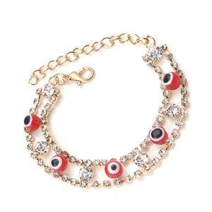 Red evil eye braclet gold plated